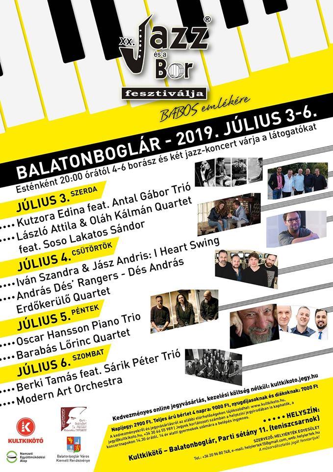 Programajánló: XX. Jazz és a Bor fesztiválja – Balatonboglár – július 3-6.