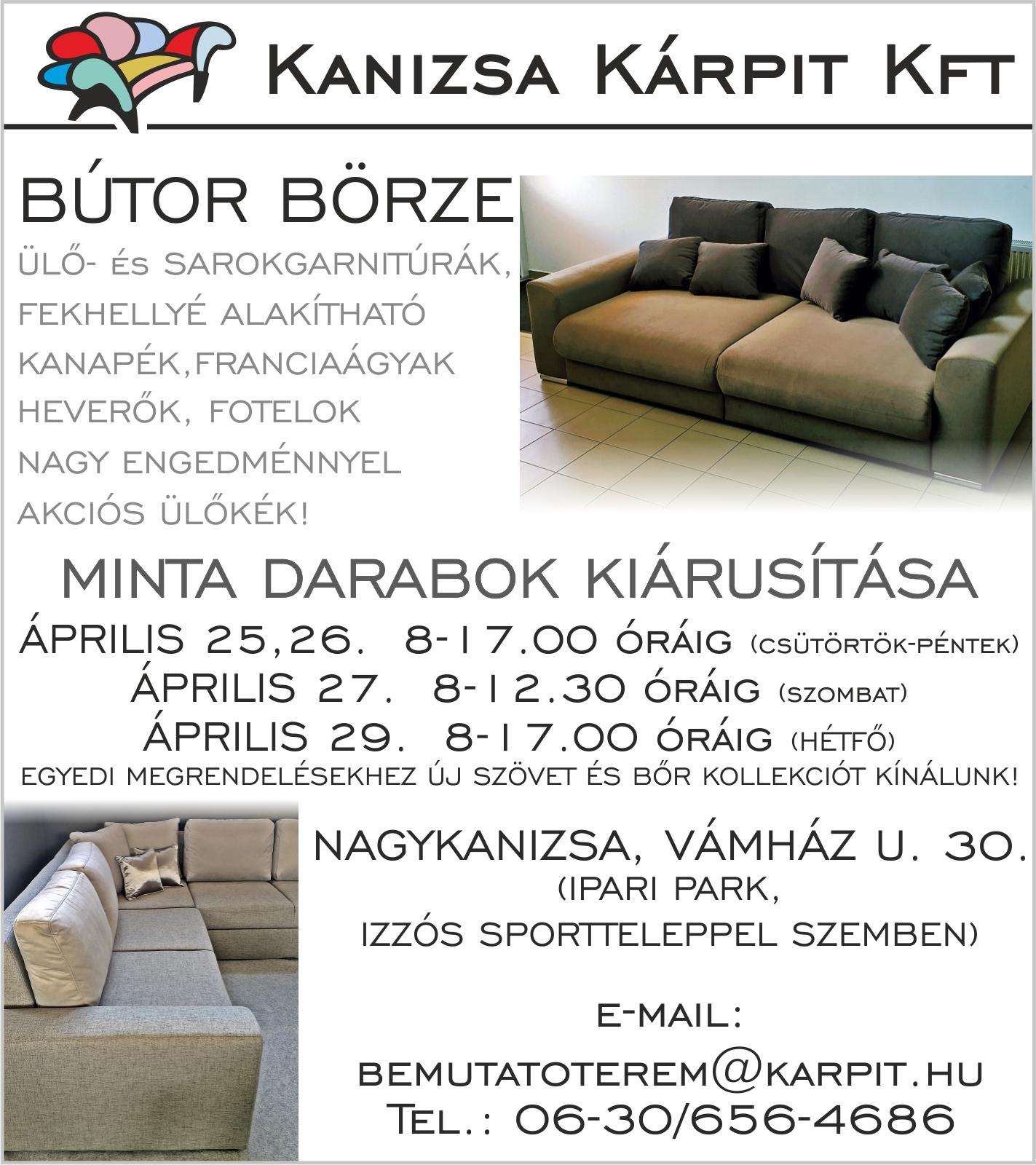 Kanizsa Kárpit Kft. hirdetése