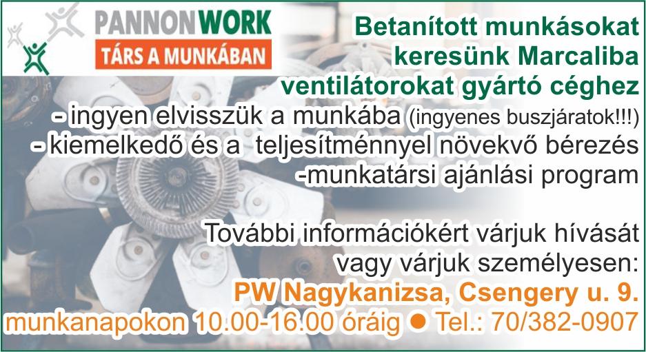 Pannon Work Nagykanizsa hirdetése