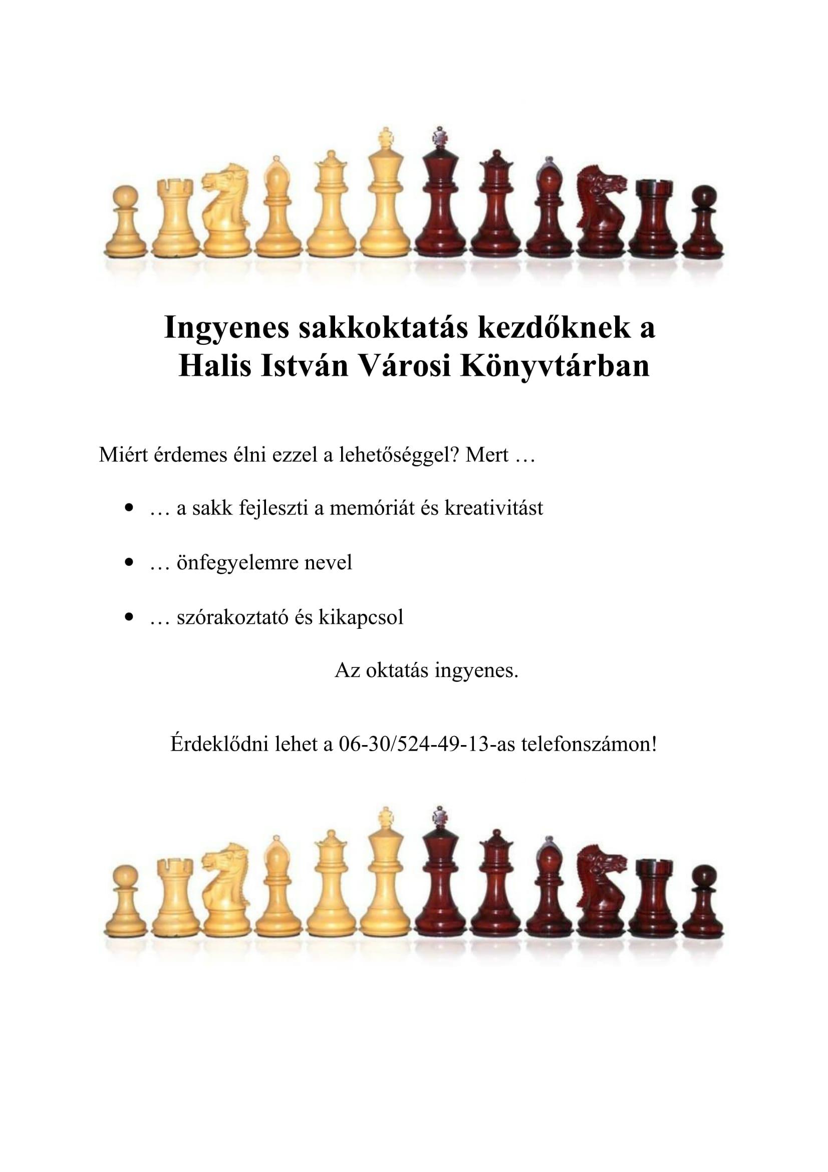 Ingyen sakkoktatás a könyvtárban