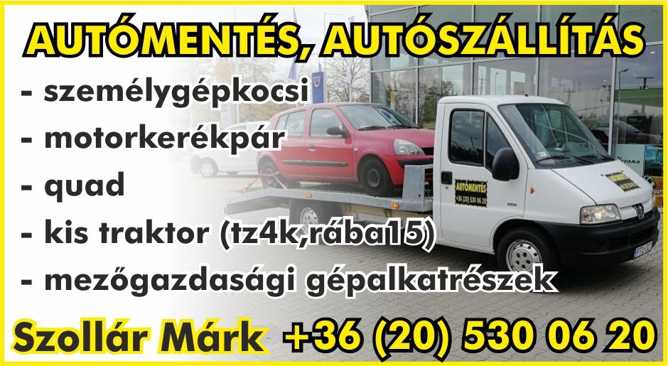 Szollár Márk autómentő hirdetése